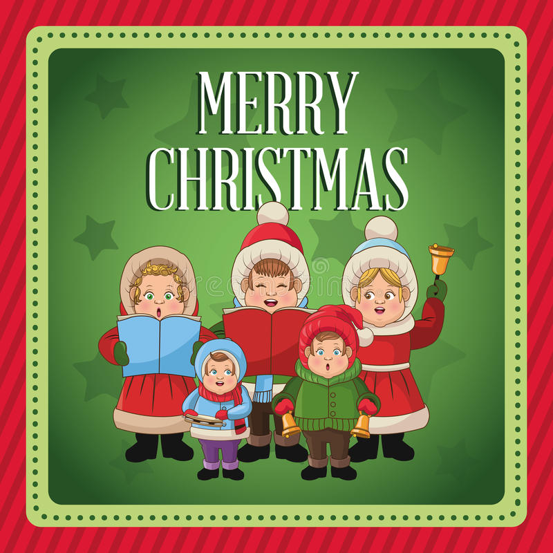 圣诞颂歌设计唱歌动画片  皇族释放例证