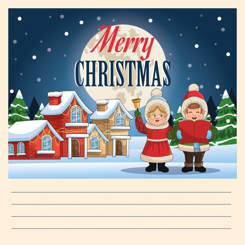 圣诞颂歌设计唱歌动画片  向量例证