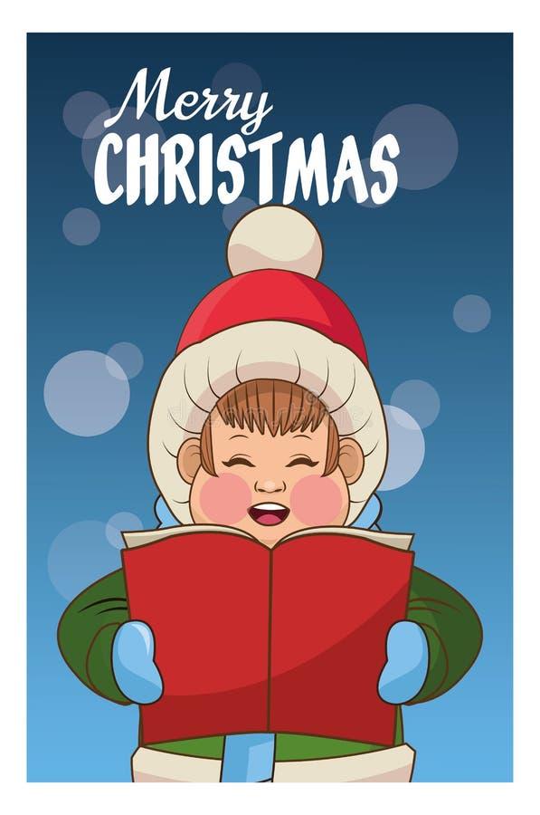 圣诞颂歌设计唱歌动画片  库存例证