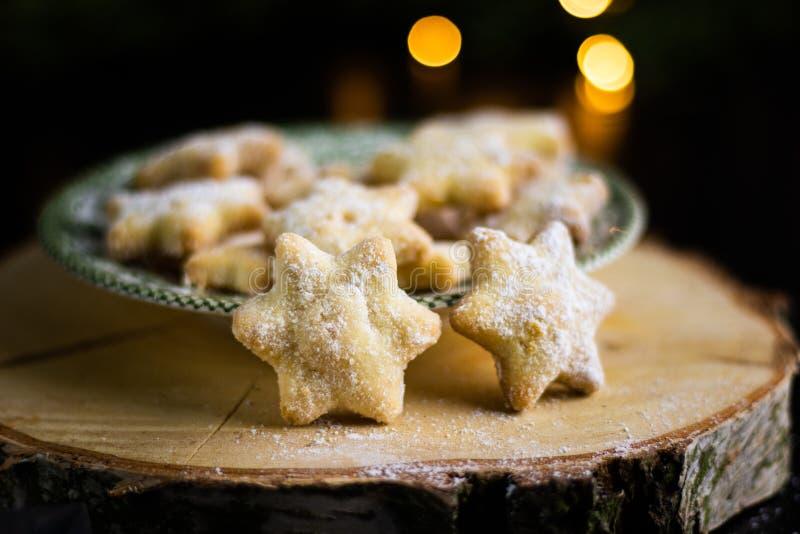 圣诞香草星饼干圣诞糖果 库存图片