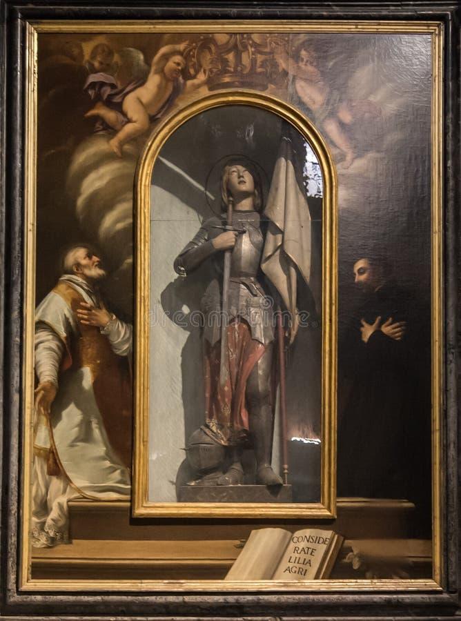 圣贞德,绘在圣米谢勒在Foro教会里 库存图片