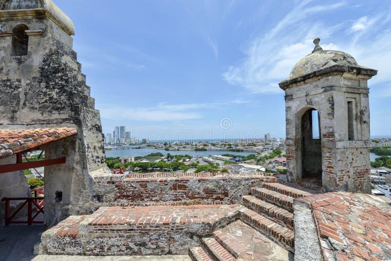圣费利佩巴拉哈斯城堡在卡塔赫钠,哥伦比亚 免版税库存照片