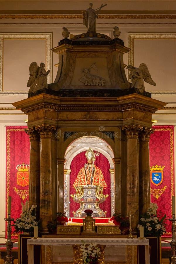 圣费尔明在圣洛伦佐教会里,潘普洛纳,西班牙教堂  免版税库存照片