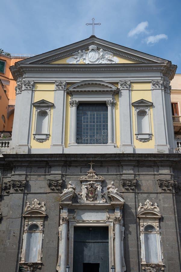 圣费尔迪南多-那不勒斯-意大利的教会 库存图片