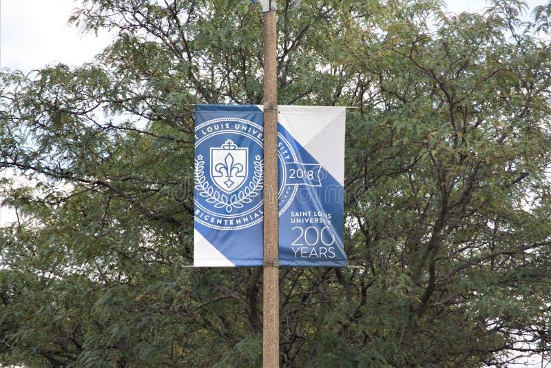 圣路易大学街道横幅,圣路易斯密苏里 免版税库存照片