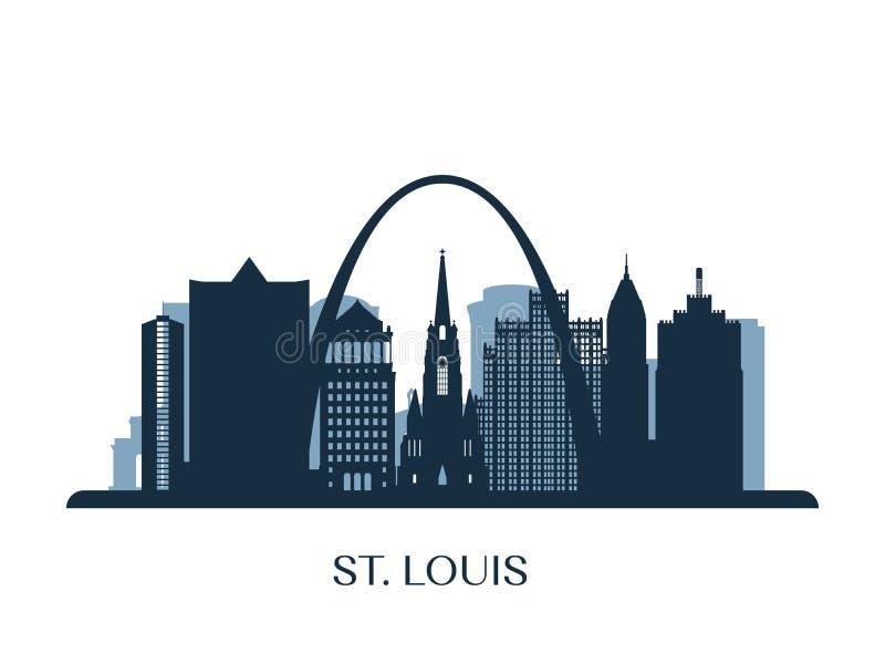 圣路易斯地平线,单色剪影 库存例证