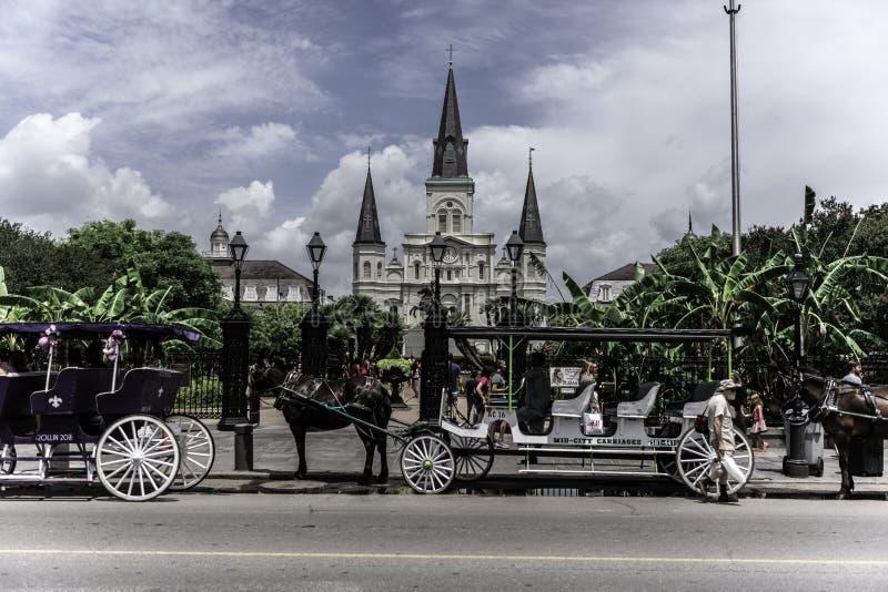 圣路易斯大教堂新奥尔良法国区,迪凯特街 图库摄影