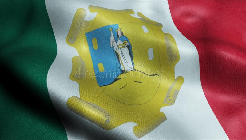 圣路易斯波托西州市旗子国家墨西哥特写镜头图3D翻译 皇族释放例证