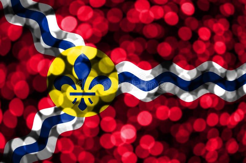 圣路易斯,密苏里抽象模糊的bokeh旗子 圣诞节、新年和国庆节概念旗子 美国状态团结了 皇族释放例证