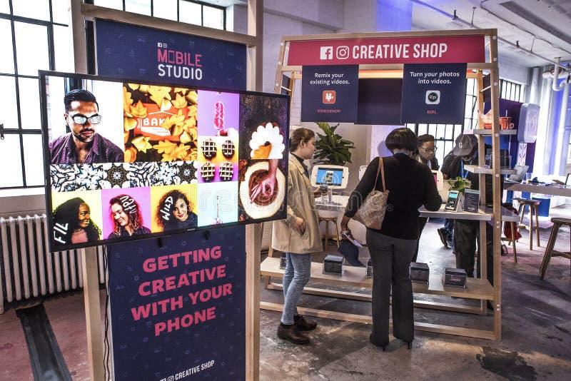 圣路易斯,密苏里,团结的状态3月27日2018-Facebook公共促进学会流动行销的事件小企业主 库存图片