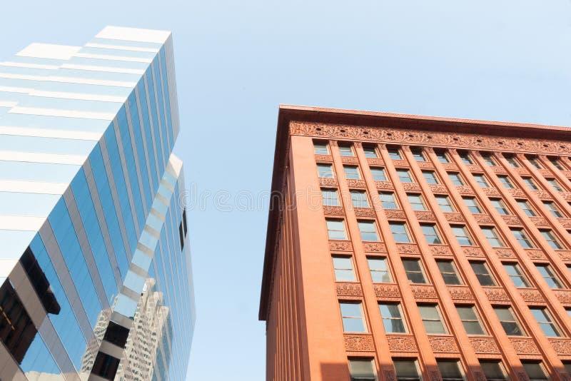 圣路易斯,建筑学,对比的建筑风格, histor 库存照片