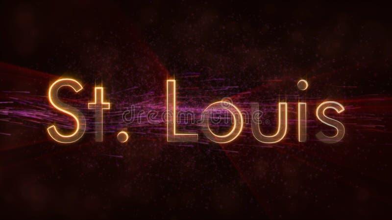 圣路易斯-发光的使成环的城市名字文本动画 库存例证