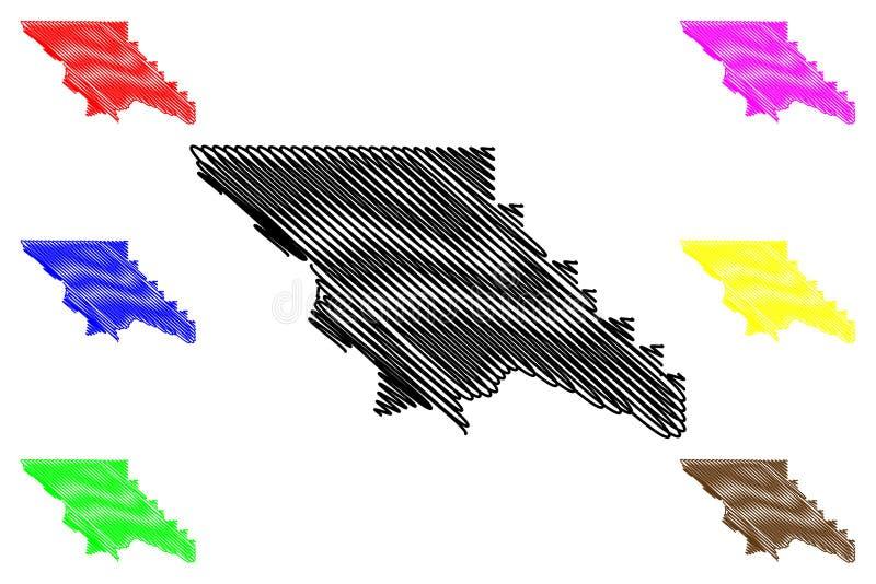 圣路易斯-奥比斯波县,加利福尼亚地图传染媒介 库存例证