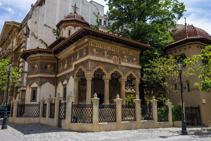 圣迈克尔和加百利教会在布加勒斯特,罗马尼亚 库存照片
