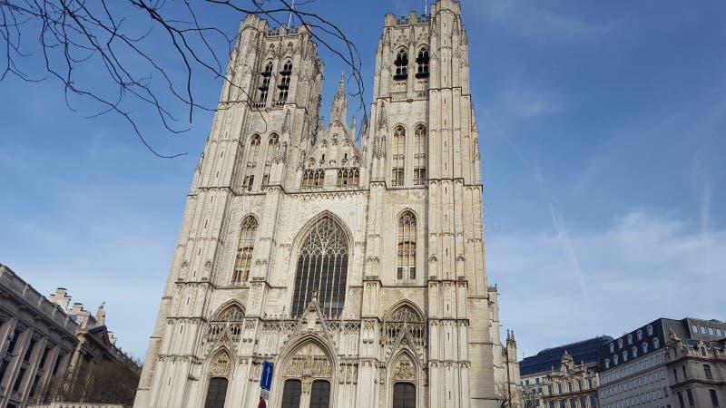 圣迈克尔和圣Gudula大教堂在布鲁塞尔 免版税库存图片