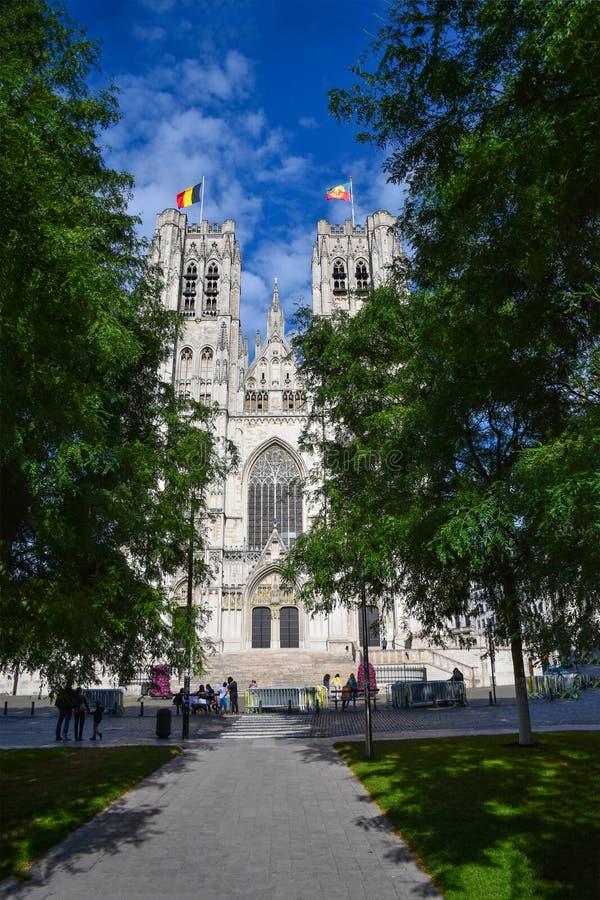 圣迈克尔和圣Gudula布鲁塞尔大教堂  库存照片