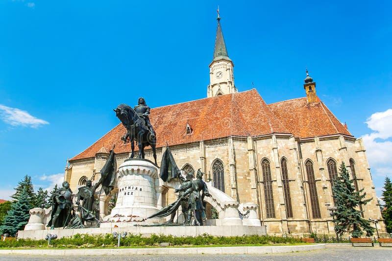 圣迈克尔教会  科鲁Napoca,罗马尼亚 免版税库存图片