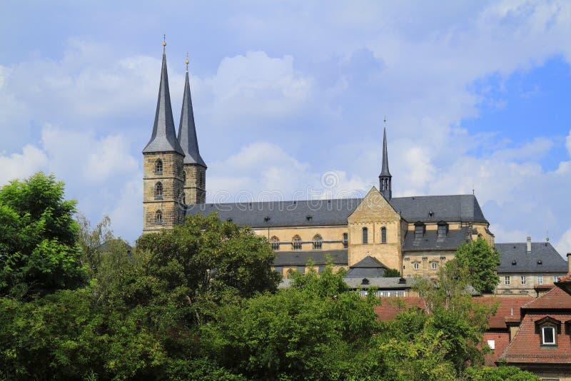 圣迈克尔& x27; Michaelsberg修道院s教会在琥珀,巴伐利亚, 库存照片
