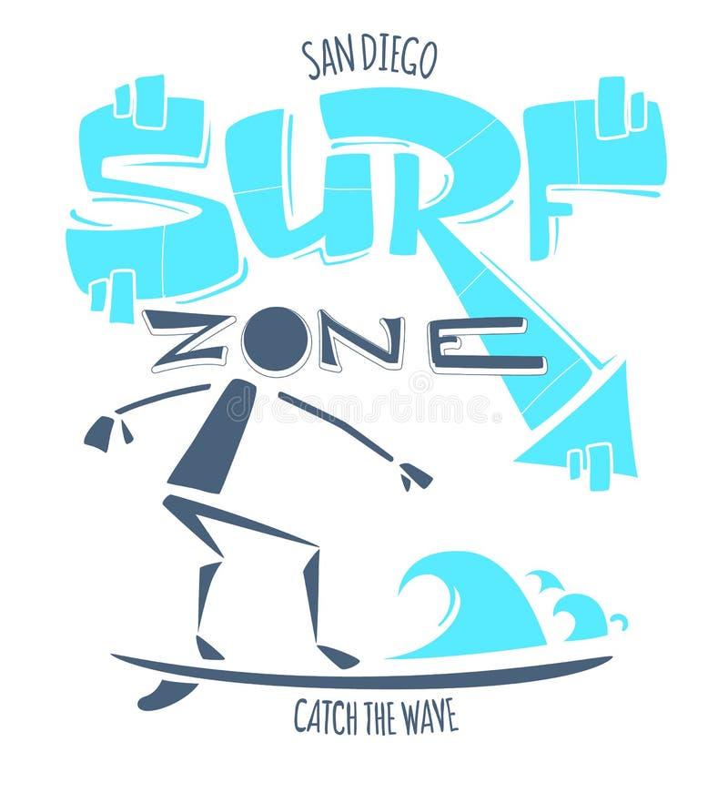 圣迭戈加利福尼亚海浪区域 捉住波浪 冲浪的印刷品T恤杉图表 向量例证
