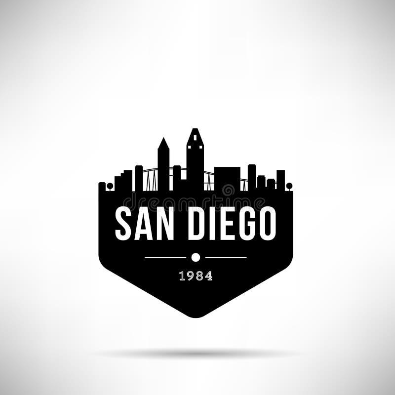 圣迭戈市现代地平线传染媒介模板 皇族释放例证