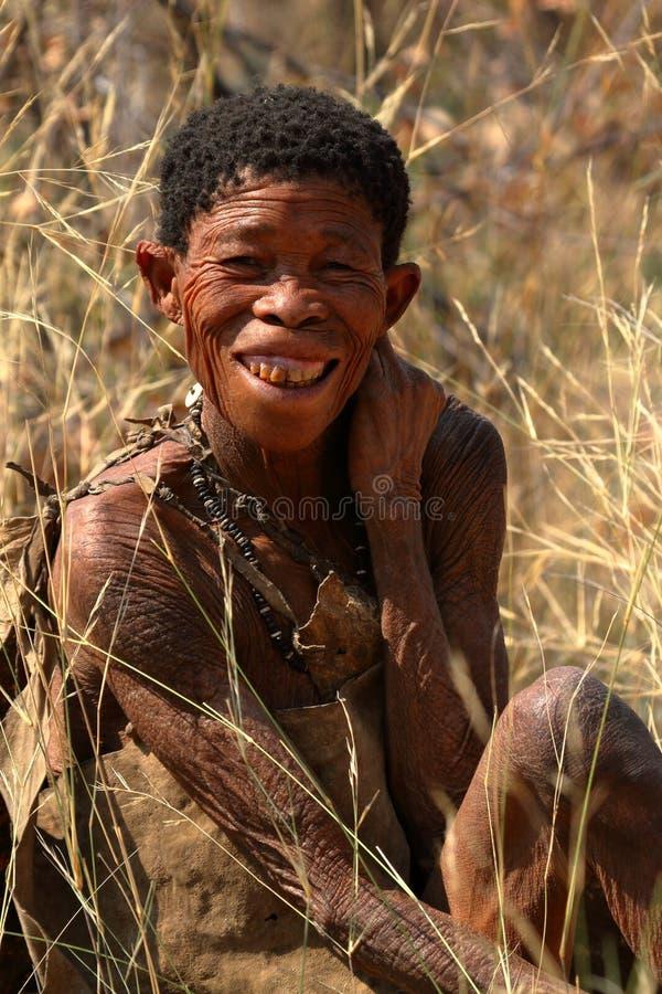 圣部落的人们在纳米比亚 免版税库存照片