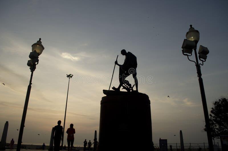 圣雄甘地雕象,金奈,印度,亚洲 免版税库存照片