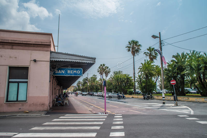 圣雷莫老火车站 库存图片