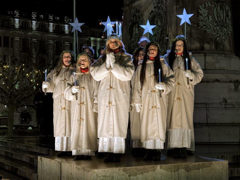 圣露西的天的庆祝在马尔摩, 2015年12月13日的瑞典 免版税图库摄影