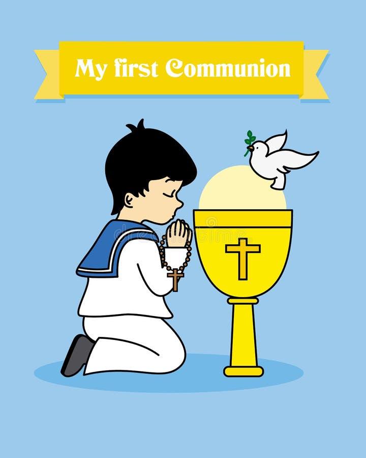 圣餐卡片 男孩祈祷 向量例证