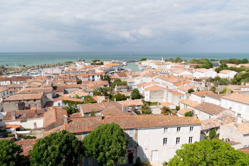 圣马丁en Re- Ile de Re Nouvelle阿基旃/法国- 05 03 2019年:顶视图空中island ile de rA©在法国 库存照片