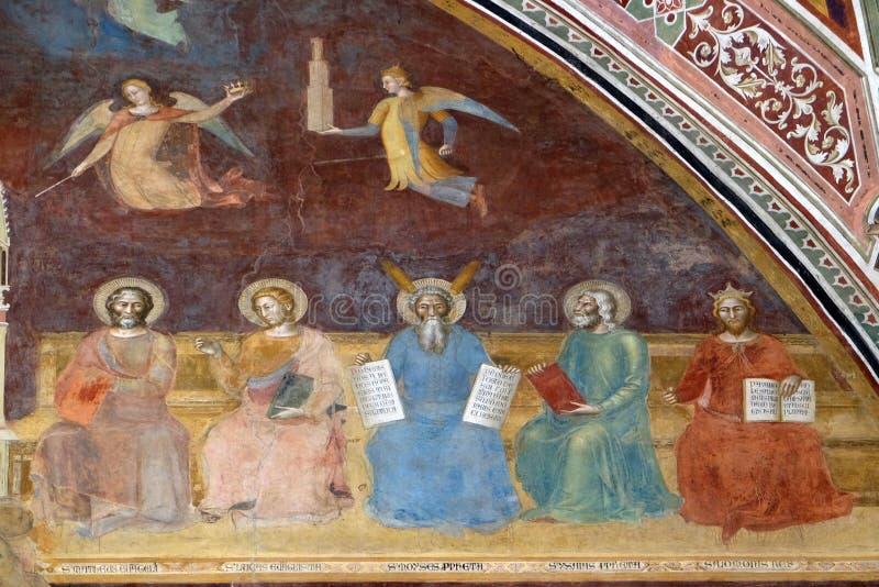 圣马修、圣卢克、摩西、艾赛尔和所罗门,圣玛丽亚中篇小说教会国王在佛罗伦萨 库存图片