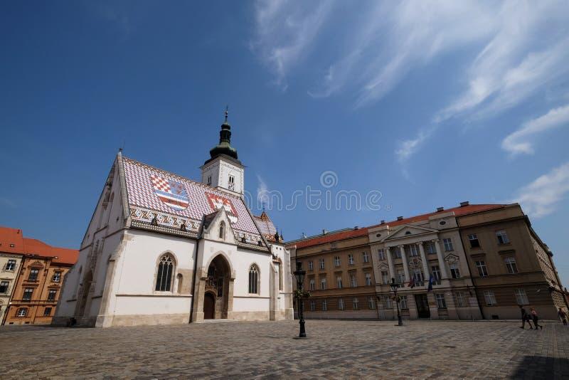 圣马克教会在萨格勒布 库存图片