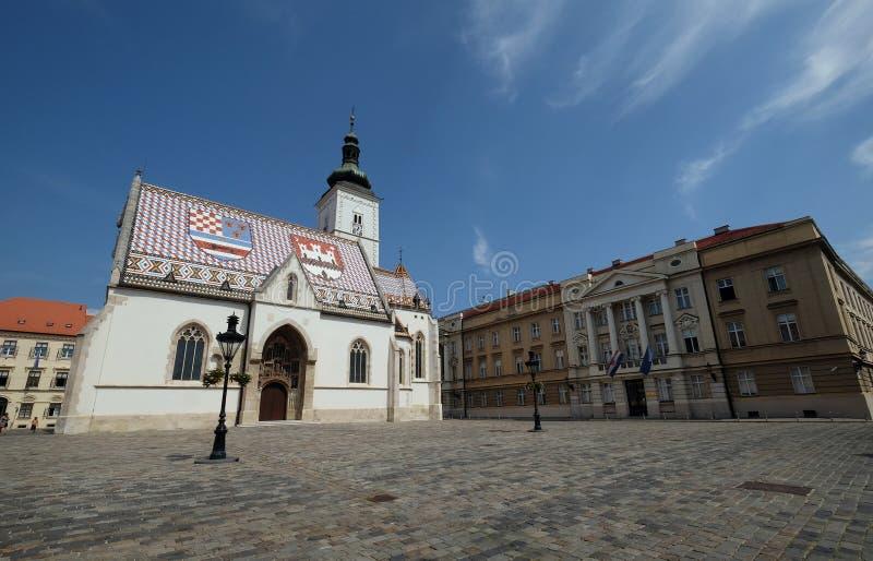 圣马克教会在萨格勒布 库存照片