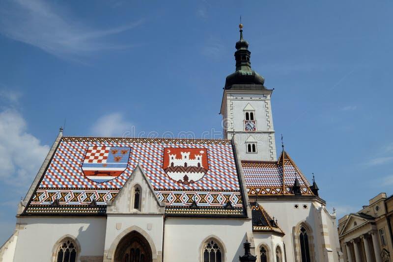 圣马克教会在萨格勒布 免版税库存图片
