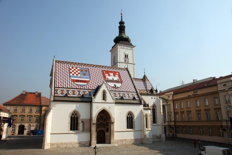 圣马克教会在萨格勒布 免版税图库摄影
