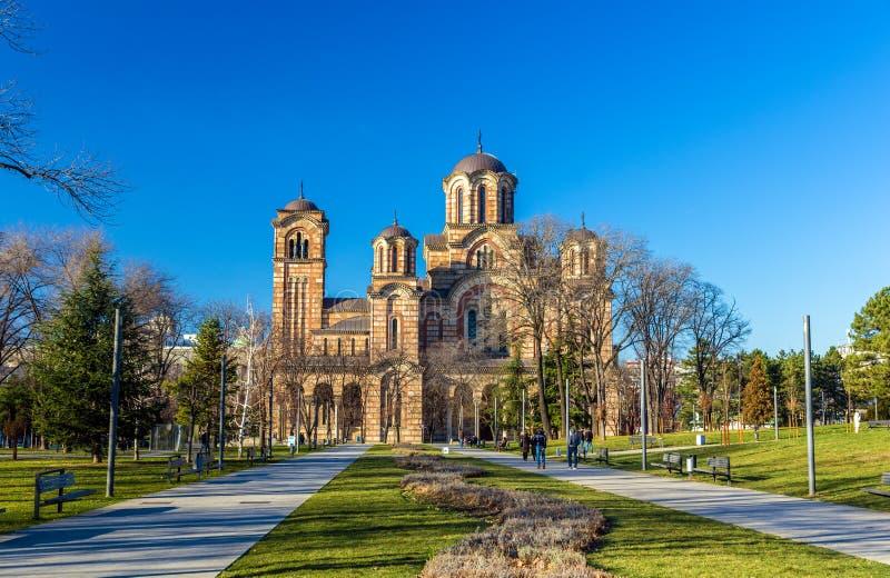 圣马克教会看法从Tasmajdan公园的在贝尔格莱德 库存照片
