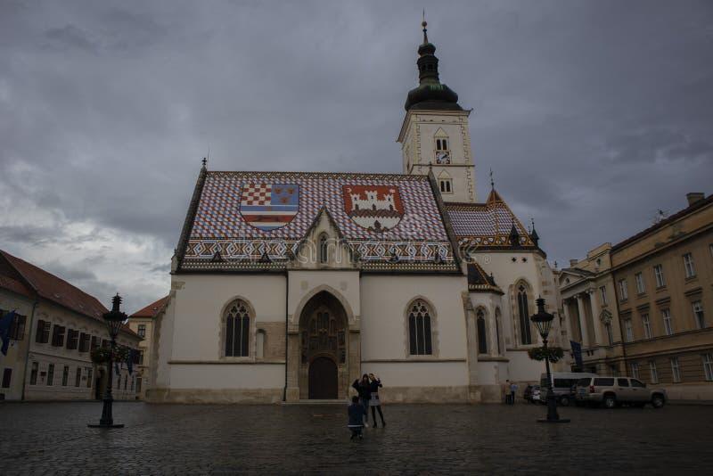 圣马克教会,萨格勒布 免版税库存图片