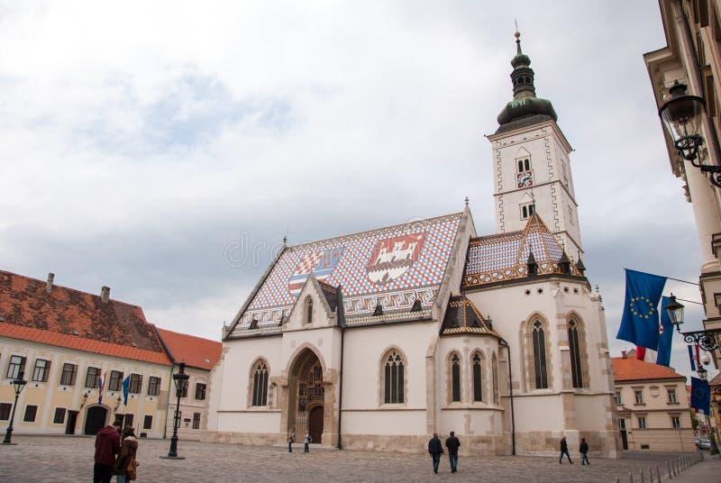 圣马克的教会在萨格勒布 图库摄影