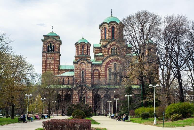圣马克的教会在Tasmajdan公园在贝尔格莱德 免版税库存照片