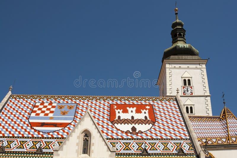圣马克,萨格勒布教会。 克罗地亚 库存照片