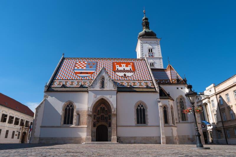 圣马克,萨格勒布,克罗地亚,欧洲教会  免版税库存照片