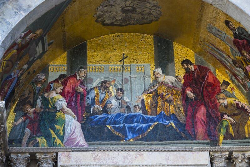 圣马克` s大教堂内部的细节在威尼斯 免版税库存图片