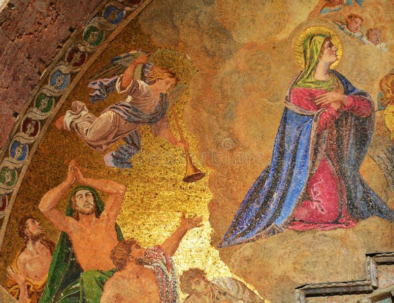 圣马克& x27; s大教堂,宗教金黄马赛克 库存照片