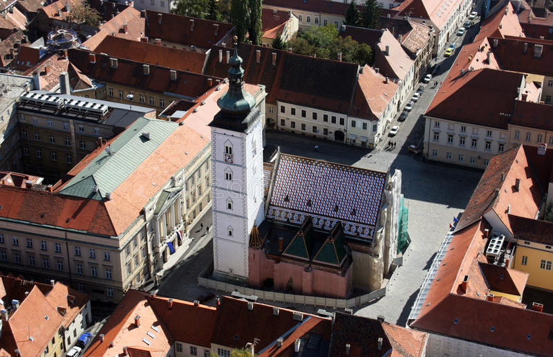 圣马克` s教会在萨格勒布 免版税库存照片