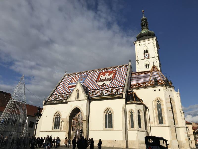 圣马克` s教会在镇萨格勒布,克罗地亚的首都里 库存图片