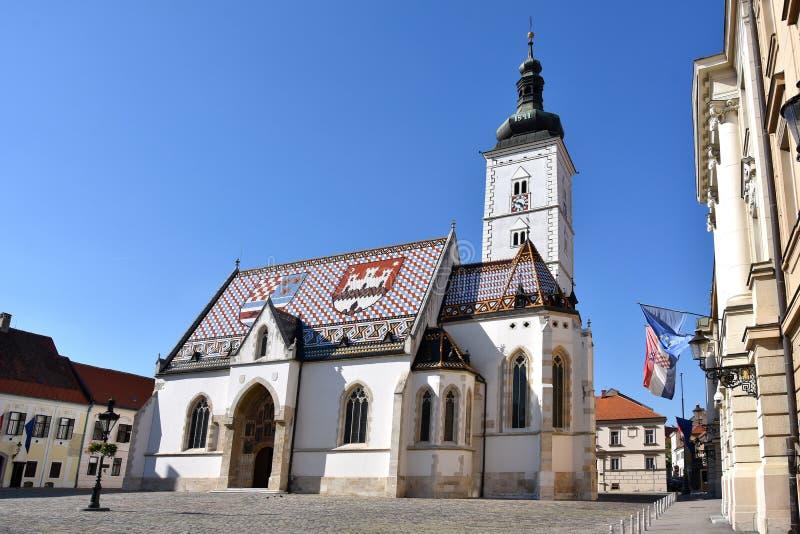 圣马克s教会在萨格勒布,克罗地亚 免版税库存照片
