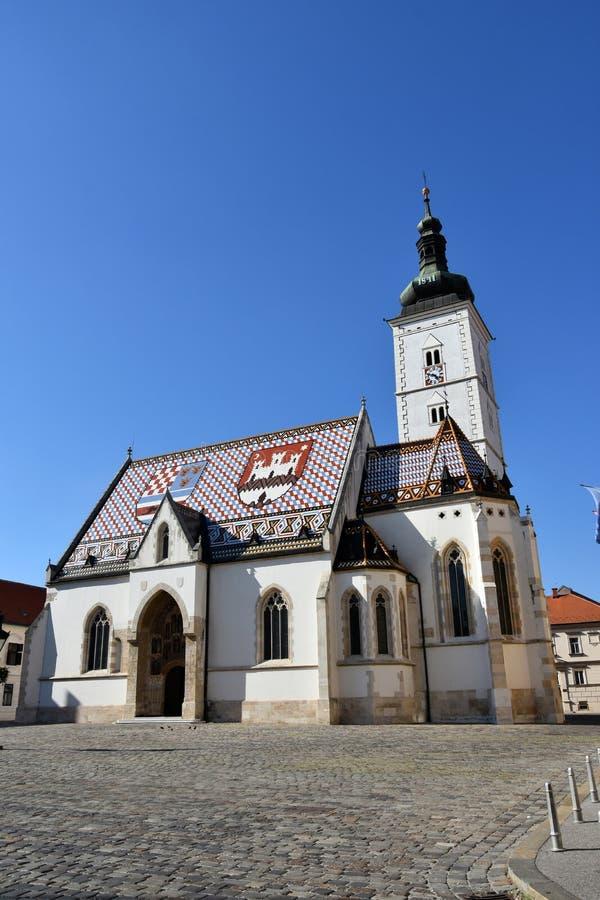 圣马克s教会在萨格勒布,克罗地亚 免版税库存图片