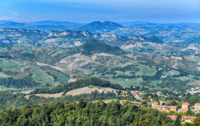 圣马力诺共和国的美好的全景 免版税库存图片