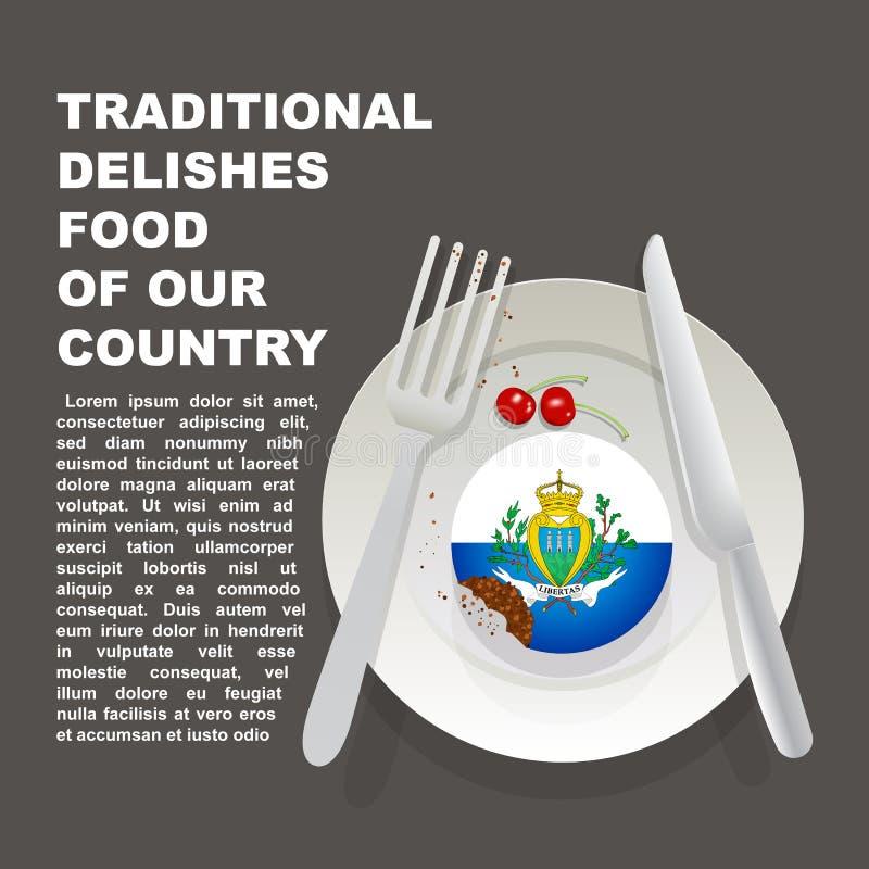 圣马力诺国家海报传统可口食物  欧洲全国点心 传染媒介与国旗的例证蛋糕  向量例证