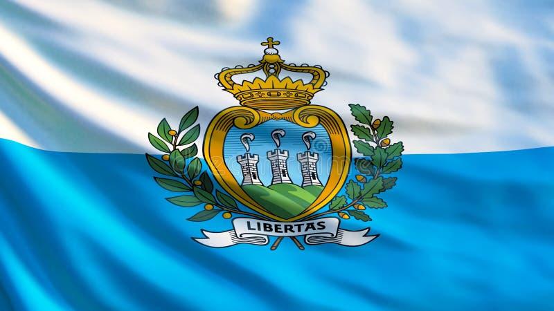 圣马力诺标志 圣马力诺3d例证挥动的旗子  向量例证